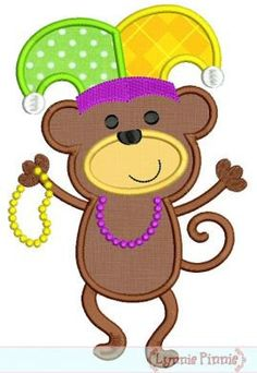 MARDI Gras Dancing MONKEY Applique 4x4 5x7 6x10  Machine Embroidery Design beads  INSTANT