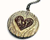 personalized initials carved in tree pendant