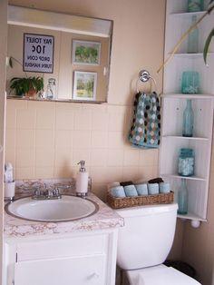 Brown Blue Bath | Brown And Blue Bathroom | Bathroom Ideas