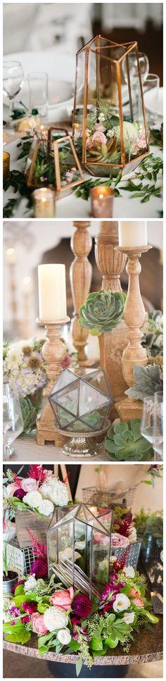 Glam Geometric & Terrarium Wedding Ideas #bohoweding #wedding #wedidngideas