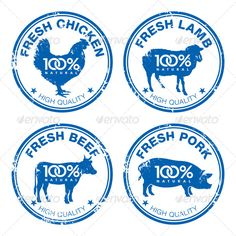 Set of Fresh Meat Stamps #GraphicRiver Set of fresh meat stamps, vector illustration. Editable EPS8 (you can use any vector program), AI in CS3 version and hi-res JPG files are included. Created: 23May13 GraphicsFilesIncluded: AIIllustrator Layered: No MinimumAdobeCSVersion: CS3
