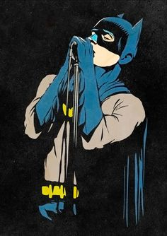 I really love this illustration not solely because it's the Dark Knight crooning, but also because of how into it he is. This grim man rarely gets to take pleasure in life. This is nice to see.