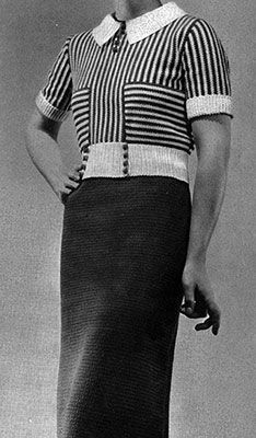 Vintage Crochet Patterns, Vintage Knitting, Dress Patterns, Knitting Patterns, Crocheting Patterns, Knitting Projects, 1930s Fashion, Free Crochet, Crochet Tops