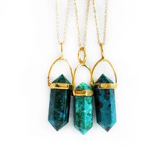 CHRYSOCOLLA point necklace - petite