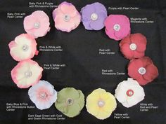 Cute flowers for headbands...Pick what ever flower and center you want.
