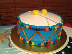 Drum Cake - First Birthday - Easy Toddler Food.. This would be cute for when Gunners first birthday rolls around