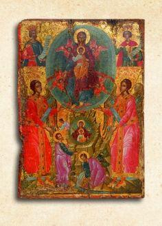 """The Burning Bush"" Icon of the Most Holy Theotokos, Crete Byzantine Icons, Byzantine Art, Religious Icons, Religious Art, Black Royalty, Master Of Fine Arts, Russian Icons, Art Icon, High Art"