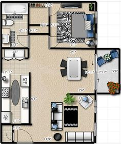 1 Bedroom 1 Bathroom 750 SQ.FT. Floor Plan. #GAApartments #CastawaysAptsGA