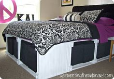 good way to finish Ivy's bed. Platform Storage Bed from Knock Off Decor. This site features DIY furniture and home decor ideas inspired by well known stores. My New Room, My Room, Plataform Bed, Diy Storage Bed, Extra Storage, Storage Cubes, Bedroom Storage, Storage Baskets, Knock Off Decor