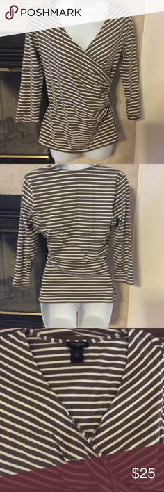 Ann Taylor pullover Faux Wrap Shirt Taupe and white Stripes. Great Condition. 3/4 sleeves.  Great for Fall. Sized Med.  Runs true to size Ann Taylor Tops