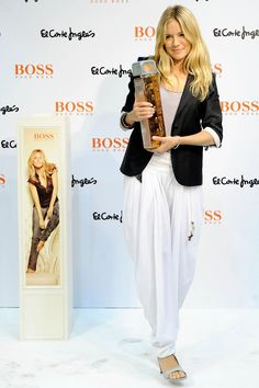 At the El Corte Ingles department store in Madrid to present the new Hugo Boss fragrance.