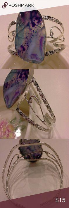 Sale  ★ Natural stone bracelet adjustable band, silvertone Jewelry