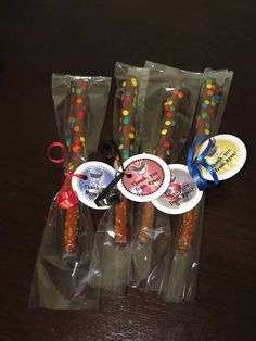 Chocolate covered pretzel and Power Ranger favor tags - Crafty Girl Creations by Karen