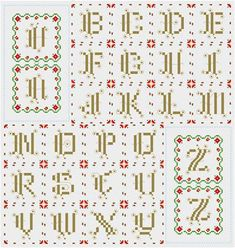 Ornate Monograms Poinsettia Edge - Christmas cross stitch pattern designed by Susan Saltzgiver. Category: Ornaments.