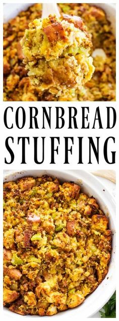 This traditional CORNBREAD STUFFING recipe is full of flavor and loaded with herbs, sausage, onion, celery and garlic; making it a holiday favorite. #stuffingrecipe #stuffing #dressingrecipe #dressing #turkeyrecipes #ThanksgivingRecipes #thanksgivingdinner #thanksgivingideas #christmasdinner