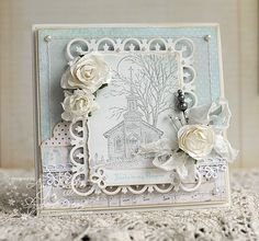 #shabby chic, #spellbinders Fleur di Lis Rectangles and Spiral Blossoms One
