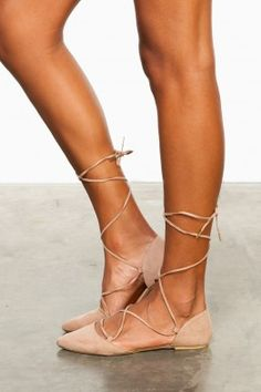 On Point Lace Up Flats in Taupe