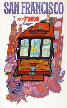 San Francisco TWA Klein, 1960s - original vintage poster by David Klein listed on AntikBar.co.uk