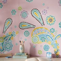 I love the Boho Paisley Wall Decal on pbteen.com. Color is jeweled peach BM. | DIY / Color Palettes/ Home Ideas | Pinterest | Wall decals Boho and Walls  sc 1 st  Pinterest & I love the Boho Paisley Wall Decal on pbteen.com. Color is jeweled ...