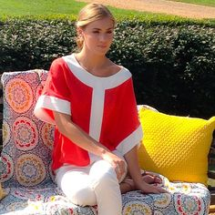 Annie Griffin's best-selling Hadley tunic in red/ white- such great warm weather colors!