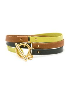 Gorjana Caramel, Chartreuse, & Forest Leather Tri-Color Wrap Bracelet