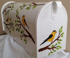 Goldfinches on branches. Painted Mailboxes, Goldfinch, Bird Houses, Branches, Hand Painted, Painting, Accessories, Decor, Painted Boxes