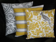 "Pillows Decorative Pillows TRIO suzani, lulu stripe, barber bird 20x20 inch Throw Pillow Covers gray 20"" storm grey, corn yellow, white. $46.00, via Etsy."