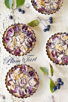 Sweetly pretty Mini Plum Tarts. #food #cooking #baking #dessert #tarts #plum #fruit