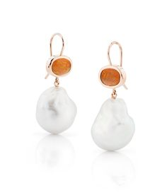 18kt gold earrings set with opal and 17mm Large South Sea pearls From the Daniel Moesker Pearl Collection