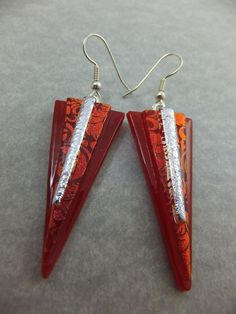 Handmade Triangle Earrings in Red & Silver Dichroic Glass w Surgical Steel