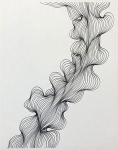 Original line drawing / abstract line drawing / black and | Etsy Abstract Line Art, Abstract Drawings, Art Drawings, Drawing Designs, Pretty Drawings, Black Ink Art, Black And White Drawing, White On Black Art, Black Pen Drawing
