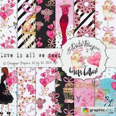 Love is All We Need Digital Paper  stock images