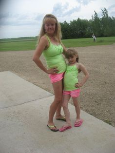 cute Daisy Duke shorts as u see pink and lime green match also matching cloths with your niece makes you look younger