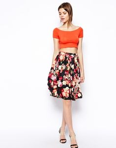 Image 1 of ASOS Midi Skirt In Floral Rose Print