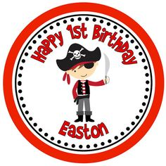Iron on Transfer DIY - Red and Black Pirate - Boys 1st Birthday Party - Custom Personalized Name for First Birthday - Easton