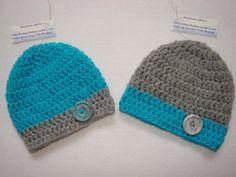 Twins Crochet baby boy set of 2 hat beanie aqua by OtiliaBoutique, $28.00