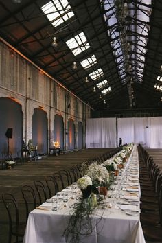 Long Table Styling / Mat Alicia: Chic Warehouse Wedding / Real Wedding / Photographed by Courtney Illfield / View full post on The LANE Chic Wedding, Wedding Events, Wedding Styles, Wedding Hire, Wedding Ideas, Industrial Wedding, Industrial Chic, Events Place, Decoration Inspiration