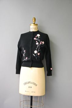 1950's Black Cashmere Embroidered Cardigan by CapsuleVintage