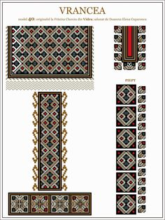 Semne Cusute: iie din MOLDOVA, Vrancea, Vidra Russian Embroidery, Embroidery Motifs, Cross Stitch Embroidery, Cross Stitch Borders, Cross Stitch Patterns, Beading Patterns, Knitting Patterns, Moldova, Tapestry