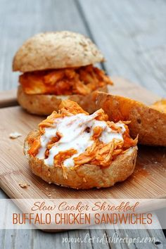 Friends, these shredded Buffalo chicken sandwiches are easily the most well received meal Ive served up in recent memory. Granted, my husband and kids all like spicy food, but still, they couldnt...