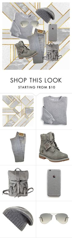 """""""Soft foggy gray casual"""" by shelli-fitzpatrick ❤ liked on Polyvore featuring Blair, Versace, Timberland, BCBGMAXAZRIA and Ray-Ban"""