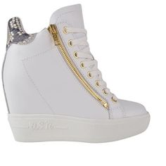 Ash Atomic Wedged High Top Trainers ($110) ❤ liked on Polyvore featuring shoes, sneakers, white pattern, wedge shoes, white high tops, ash sneakers, white hi top sneakers and wedge sneakers