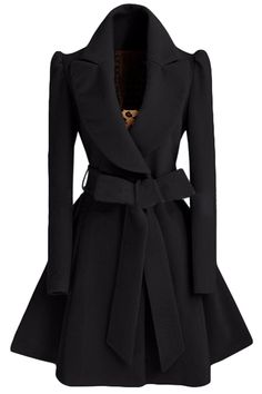 Womens Plain Turndown Collar Sash Medium-long Woolen Coat Black