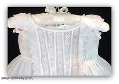 Antique Christening Gown Edwardian Style- c.1900 - White Cotton Baby Dress - Size 6MO.