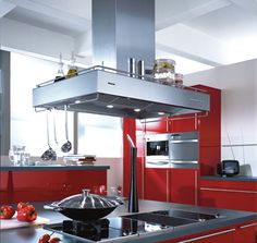 Red kitchen cabinets range hood island design Important Things You Should to Know about Island Range Hoods