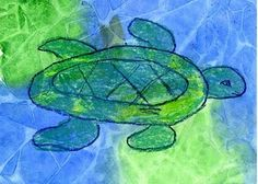 Simple Sea Turtle...maybe with use of wet colored tissue paper