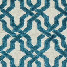 Upholstery Fabric -  Teal Velvet Trellis/Lattice Fabric Pattern