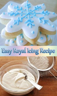 sugar cookies and royal icing (christmas cookie icing tutorials) Flooding Icing Recipe, Best Royal Icing Recipe, Royal Icing Recipe Without Meringue Powder, Royal Icing Recipe With Egg Whites, Royal Icing Cookies Recipe, Royal Frosting, Royal Icing Cakes, Easy Icing Recipe For Cookies, Frosting For Cookies
