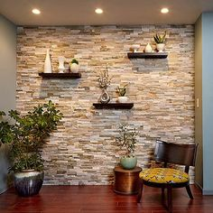 Create a Faux Stone Accent Wall - Cover a wall with stone veneer and transform a room! You can transform any room with a stunning stone accent wall like this. Faux Stone Walls, Stone Accent Walls, Faux Brick, Kitchen Accent Walls, Kitchen Stone Wall, Faux Stone Wall Panels, Faux Stone Sheets, Faux Stone Veneer, Wooden Accent Wall