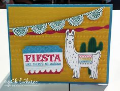 2016- 2017 Annual Catalog sample of handmade Llama card from Pink Buckaroo Designs